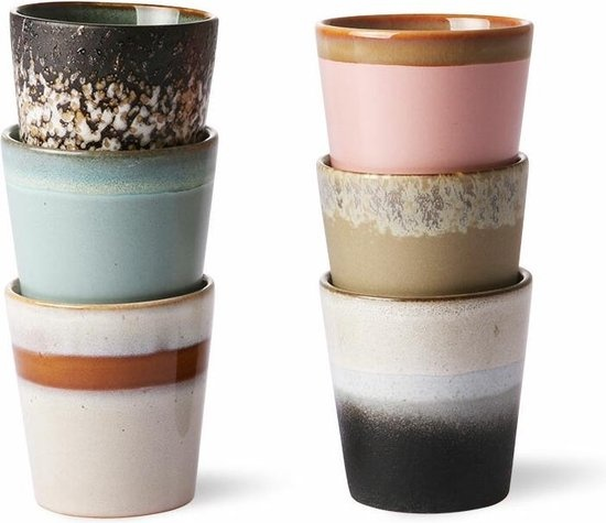 70's mugs set of 6 HK Living